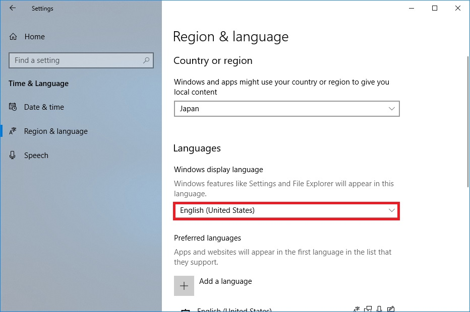 region & language