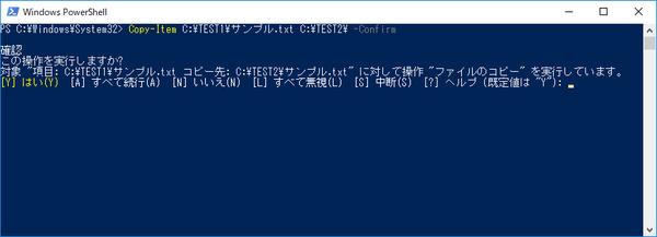 コピー前に確認メッセージが表示されます。