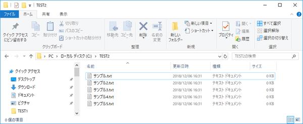 C:\TEST2 にテキストファイル(.txt) がまとめてコピーされています