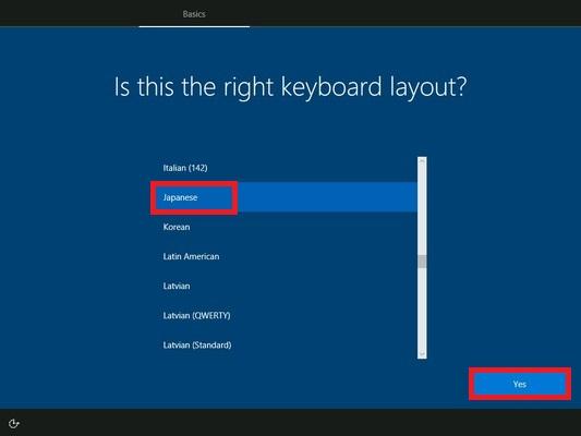 キーボードレイアウトの画面が表示されます。「Japanese」をクリックして「Yes」をクリックします