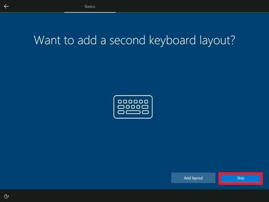 追加のキーボード設定は不要なので「Skip」をクリックします