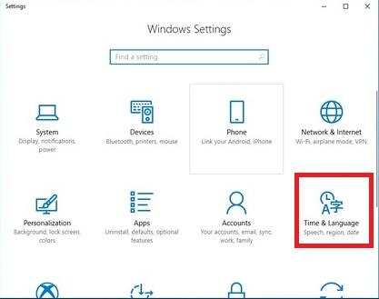 Windows Settingsの画面が表示されます。「Time & Language」をクリックします