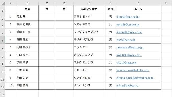 Excelで以下のような表があり、氏名を分割したいとします